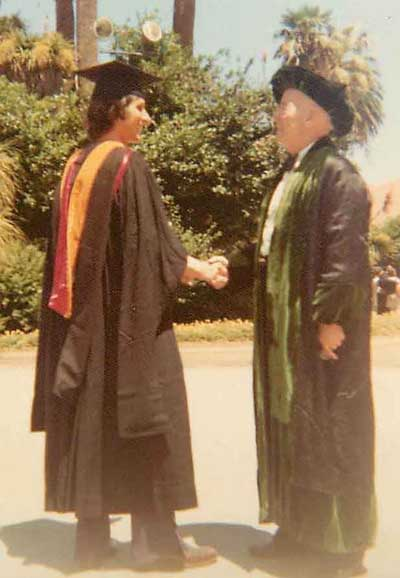 William Hermanns congratulating Kenneth Norton on his being awarded M.S. from Stanford University 4/3/1975