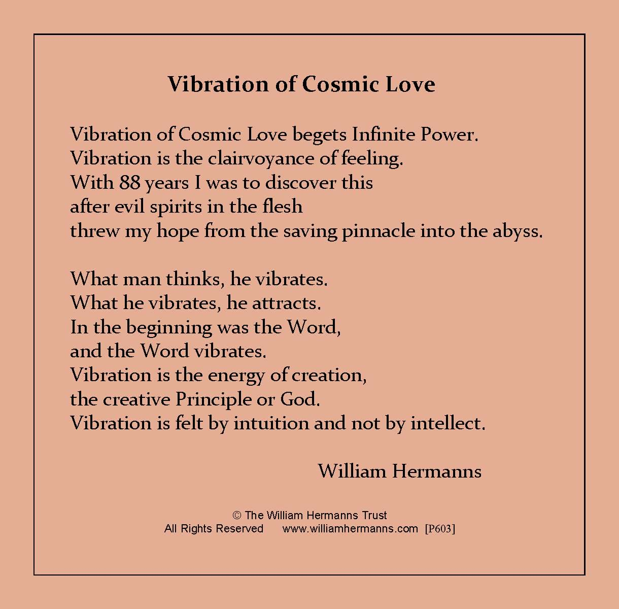 Vibrations of Cosmic Love by William Hermanns