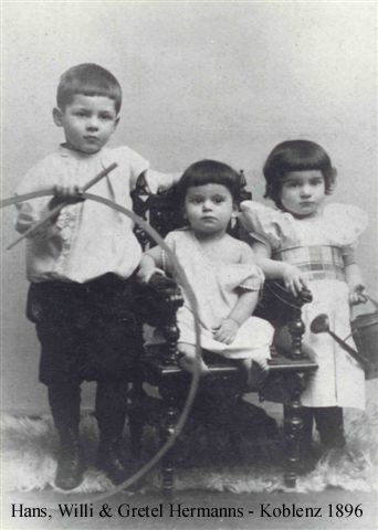 Willi Hermanns age 1 year with older brother Hans and sister Gretel, 1896 Koblenz