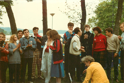 Participants singing at the World Youth Friendship Parliament at Villa Muramaris, Gotland, Sweden July 1988