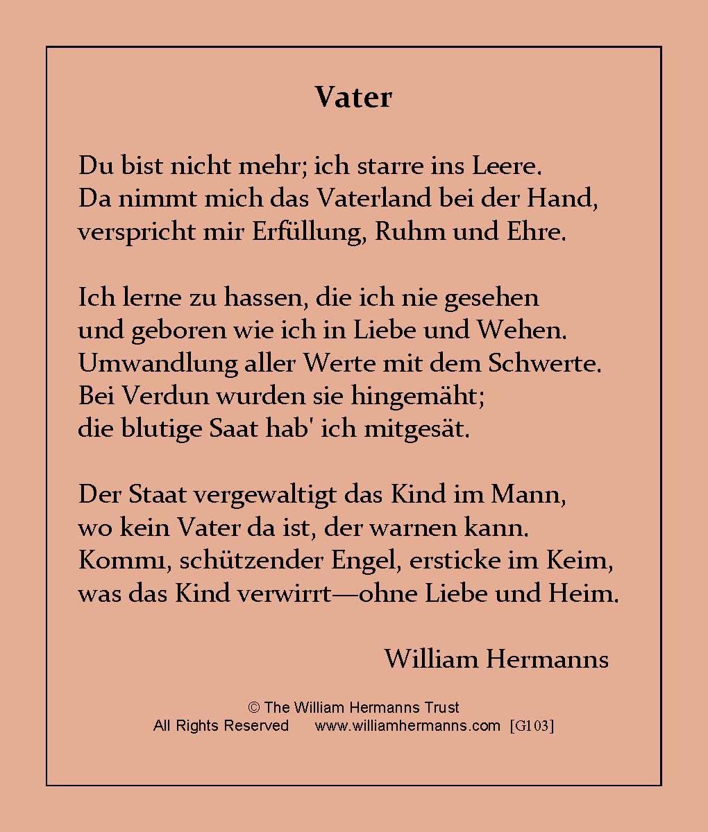William Hermanns Poem G103vater Du Bist Nicht Mehr Ich